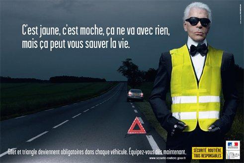 Karl Lagerfeld mannequin pour la Sécurité Routière